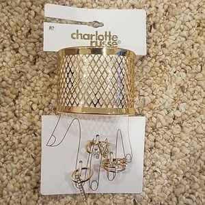 New! Charlotte Russe Gold Bracelet and Ring Set